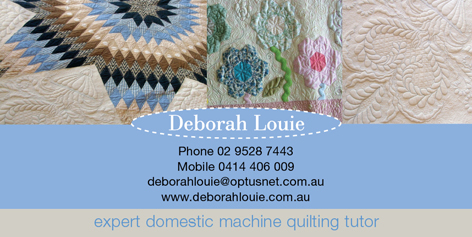 Deborah Louie: Expert Domestic Machine Quilting Tutor